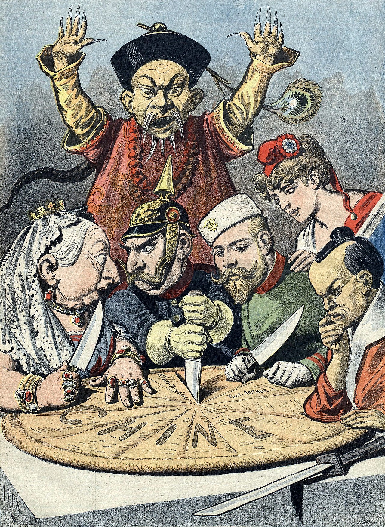 French political cartoon on China imperialism